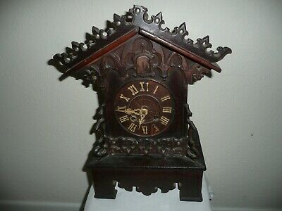 Large, Ornate, Antique Mantle Cuckoo Clock With Key & Pendulum. For Restoration.