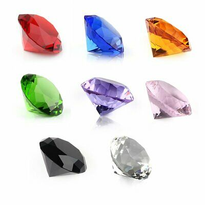 8Pcs 30mm Crystal Diamond Cut Multi Colour Glass Gem Stones Paperweight Gift