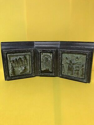 Freestanding Antique Early Russian Greek Religious Icon Bronze Triptych Icon.