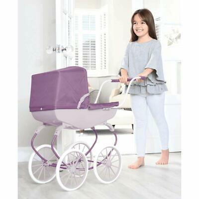 Dolls Pram Purple Doll Pushchair Buggy Toy Accessories Kids Childrens Toys