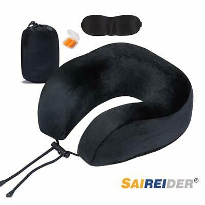 SAIREIDER Travel Neck Pillow Airplane Sleeping Adjustable U-Shape 100% Pure Memo