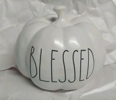 """New Rae Dunn by Magenta L/L """"BLESSED"""" Pumpkin 5 inches VHTF Rare"""