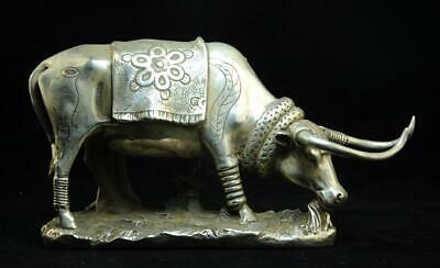 China old Hand carving cooper-plating silver Chinese zodiac cow statue f02