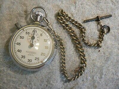 Ingersol Stop Watch, With Vintage Chain ,Good Working Order.