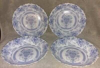 "4 Arcopal HONORINE SOUP Glass Bowls 7"" France Scalloped Blue Rose Floral"