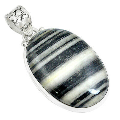 20.88cts Natural White Zebra Jasper 925 Sterling Silver Pendant Jewelry M88603