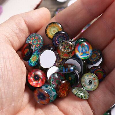200Pcs Mixed Round Mosaic Tiles Crafts Glass Supplies fr Jewelry Making 12mm NEW