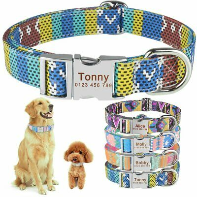 Fabric Personalized Dog Collar Custom Engraved Puppy Name Adjustable Pet S M L