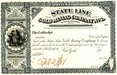 STATE LINE GOLD MINING CO.  Nevada - Proof Stock 1881 - No. 2
