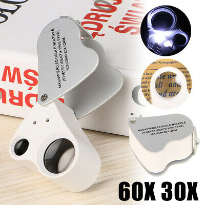 60X 30X Glass Magnifying Magnifier Jeweler Eye Jewelry Loupe Loop LED Lights KD