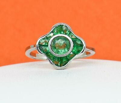 $2,199 Art Deco Solid Platinum 1.23ctw Columbian Emerald Ring 3.9g Size 6.75