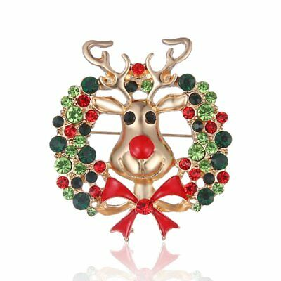 Cute Brooch Pin Women Christmas Flower Rindeer Crystal Breastpin Custume Jewelry