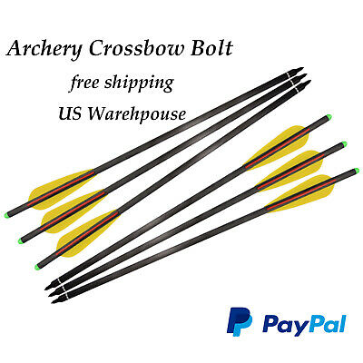 """Archery Hunting Crossbow Bolts Mixed Carbon Fiber Crossbow Arrows with 4"""" Vanes"""
