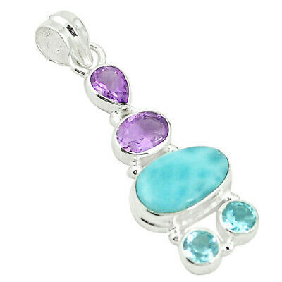 925 Sterling Silver Natural Blue Larimar Amethyst Topaz Pendant Jewelry M22179
