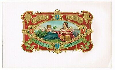 Cigar Box Label Vintage 1910 Embossed Keraco Bouquet Medical Red Ornate