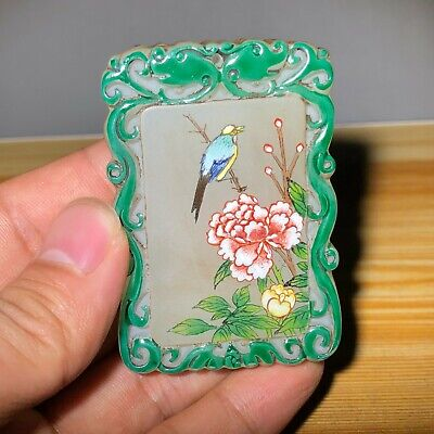 Rare Chinese Coloured Glaze Colored Drawing Flower & Bird Handwork Old Pendant