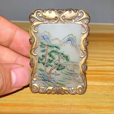 Chinese Old Coloured Glaze Landscape Collectible Antique Handwork Rare Pendant