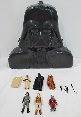 Vintage 1970/80's Kenner Star Wars Figure Lot With Vader Case W/ Some Weapons