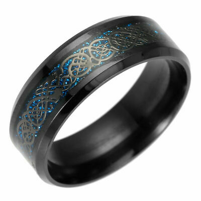Fashion Silver Celtic Dragon Titanium Stainless Steel Men Wedding Band Ring Sz 6