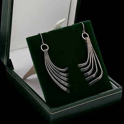 Antique Vintage Deco Mid Century Modern Sterling 925 Silver Articulated Earrings