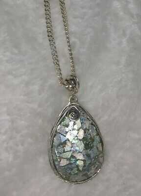 Or Paz Ancient Roman Glass Mosaic 925 Sterling Silver Pendant Teardrop Necklace