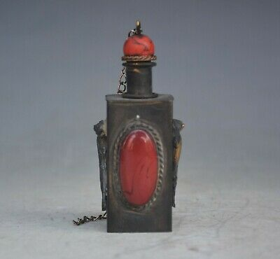 China copper  hand-made  Inlaid gemstones snuff bottle