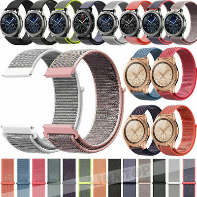 Nylon Woven Sport Loop Watch Band Strap For Samsung Galaxy Watch Active 42 46mm