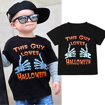 US Child Kids Baby Short Sleeve Tops Boys Floral Casual T-shirt Halloween Blouse
