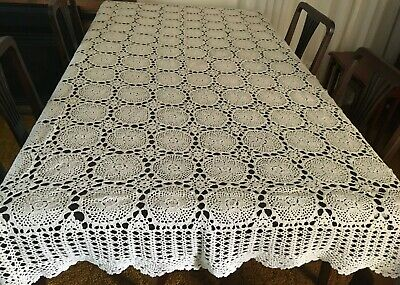CROCHET BEIGE RECTANGULAR TABLE CLOTH 160x215cm  - Beautiful!