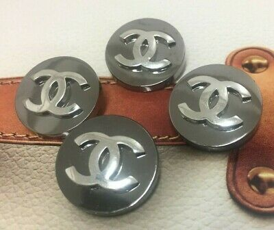 CHANEL Buttons - SET of 4 - Silver & Nickle - Shank buttons CC logo