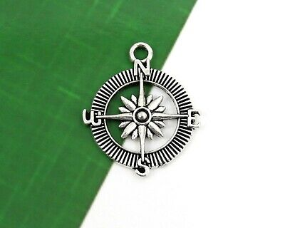 SC6421 Compass Pendant Charm Silver Plated Copper Larger Size