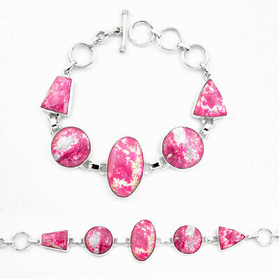 sale natural pink thulite (unionite, pink zoisite) silver tennis bracelet p20461