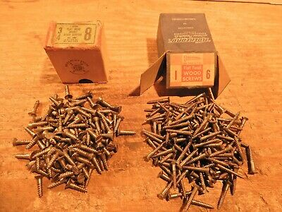 "antique wood screws 1"" X #6, 3/4"" X #8 vintage flathead slotted furniture lot"
