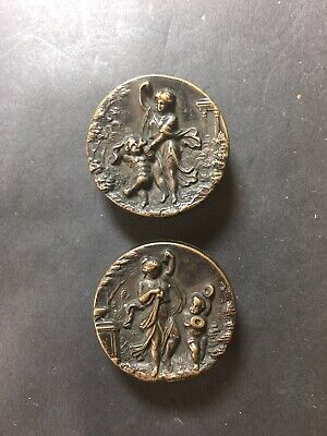 Pair Antique French Metal Picture Buttons Putti & Lady Bachelor Or Cuff Studs