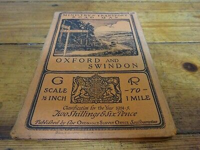 vintage cloth ordnance survey MoT map of Oxford and Swindon 1920s