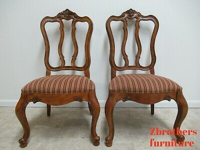 Pair Ethan Allen Tuscany Pretzel Back Dining Room Side Chairs French Carved C