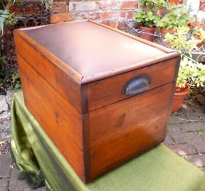 Vintage Pine Engineer's Tool Chest~Instrument Box~Hinged Lid~Leather Seat