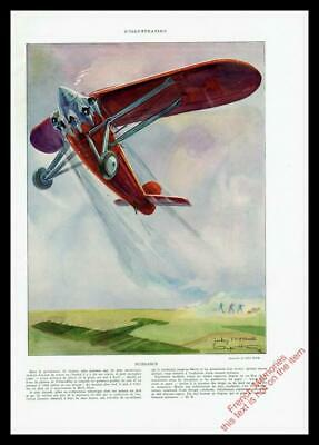 1930 ORIGINAL FRENCH ART DECO PRINT Red Airplane / Aviation by GEO HAM (2811)