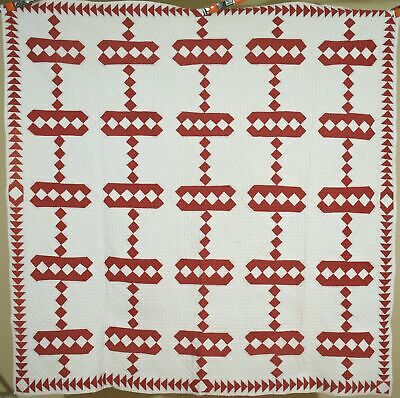 WELL QUILTED Vintage 1890's Red & White Antique Quilt ~NICE FLYING GEESE BORDER!