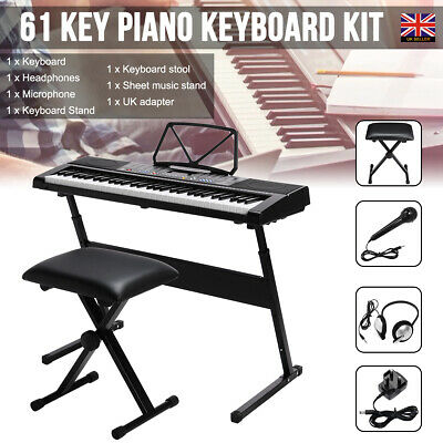 Electronic LED Digital Keyboard Piano Kit with Stand & Headphones & Mic & Stool
