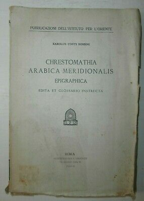 Raro Introvabile antico libro Chrestomathia arabica meridionalis 1931