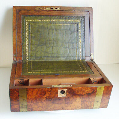Antique Walnut and brass Writing Slope Box 35 x 23 x 14.5 cm