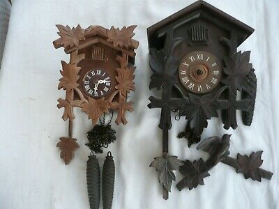 Two Small Vintage Cuckoo Clocks, For Restoration, Pendulums & Weights Included.