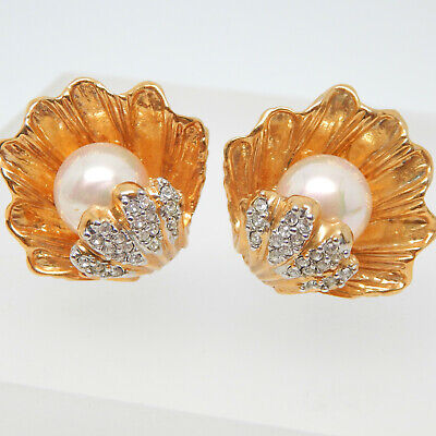 High End Retro Couture Rainbow Pearl Oyster Clam Shell Rhinestone Vtg Earrings