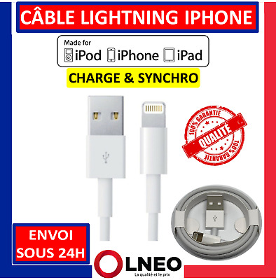 Cable Lightning Iphone Usb Chargeur Pour Apple 5 6 6S 6 Plus Se 7 8 X Xs Xr Ipad