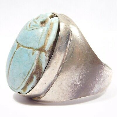 Modernist Heavy Silver Carved Scarab Ring Egyptian