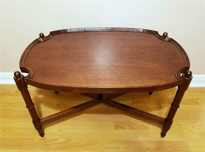 Antique Victorian Mahogany Butlers Tray Top Tea Table With Folding Base Stand