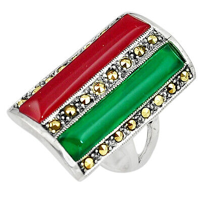 sale 7.90cts green chalcedony marcasite onyx silver ring jewelry size 7.5 a91746
