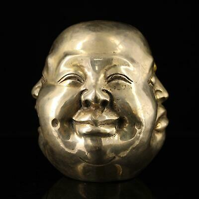 china old copper-plating silver hand-made gold drawing Buddha head statue d02E
