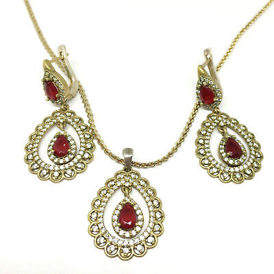 Antique Style Turkish Ottoman Earrings Necklace Set 925 Sterling Red Handmade